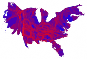 US presidential election results 2012, cartogram at county level by Mark Newman